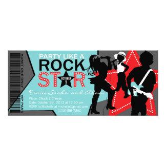 Rock Star Band Birthday Aqua Red Custom Announcements