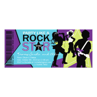 Rock Star Band Birthday Purple Lime Personalized Invitations