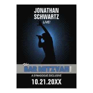 Rock Star Bar Mitzvah Invitation, Black/Silv/Blue 5x7 Paper Invitation Card
