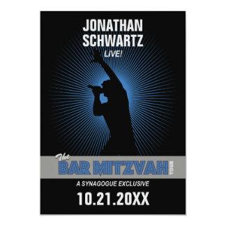 Rock Star Bar Mitzvah Invitation, Black/Silv/Blue Card
