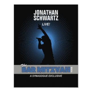 Rock Star Bar Mitzvah Reply Card in Blck/Silv/Blue