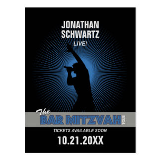Rock Star Bar Mitzvah Save the Date, Blck/Silv/Blu Postcard