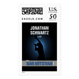 Rock Star Bar Mitzvah Stamp Black/Silver/Blue, Lrg