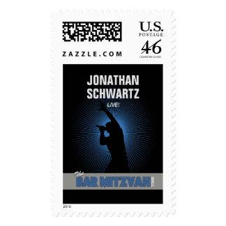 Rock Star Bar Mitzvah Stamp Black/Silver/Blue, Lrg