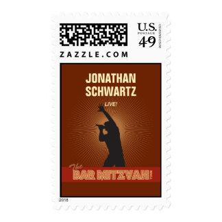 Rock Star Bar Mitzvah Stamp, Medium Postage
