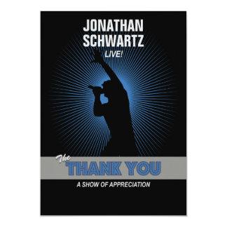 Rock Star Bar Mitzvah Thank You, Blck/Silver/Blue Invites
