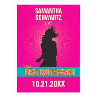Rock Star Bat Mitzvah Invitation Hot Pink No tag