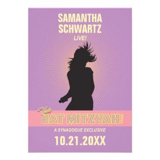 Rock Star Bat Mitzvah Invitation-Purple Pink