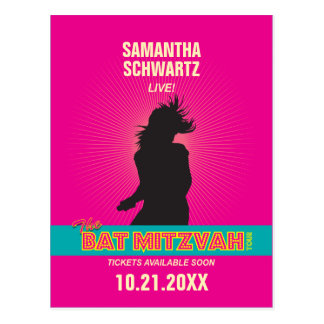 Rock Star Bat Mitzvah Save the Date in Hot Pink Postcard