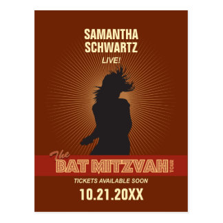 Rock Star Bat Mitzvah Save the Date Postcard