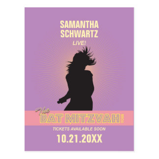 Rock Star Bat Mitzvah Save the Date-Purple Pink Postcard