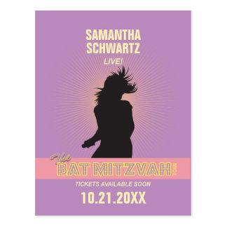 Rock Star Bat Mitzvah Save the Date-Purple Pink Postcards