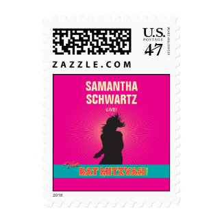 Rock Star Bat Mitzvah Stamp in Hot Pink, Small