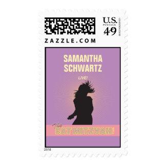 Rock Star Bat Mitzvah Stamp-Purple Pink Medium