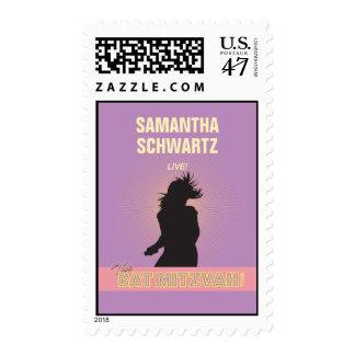 Rock Star Bat Mitzvah Stamp-Purple Pink, Medium Postage Stamp