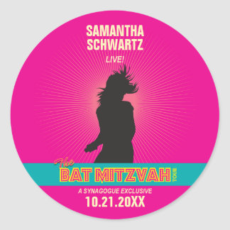 Rock Star Bat Mitzvah Sticker in Hot Pink