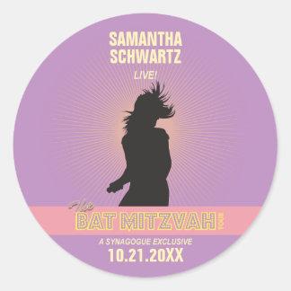Rock Star Bat Mitzvah Sticker-Purple Pink