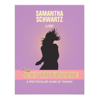 Rock Star Bat Mitzvah Thank You B - Purple Pink Personalized Announcements
