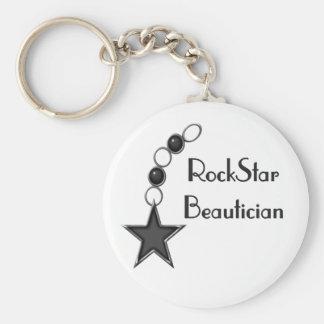 Rock Star Beautician Basic Round Button Keychain