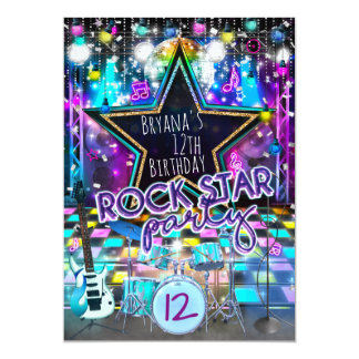 ROCK STAR Birthday Musical Dance Party Invitation