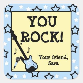 Rock Star Birthday Party Favor Stickers blue yello