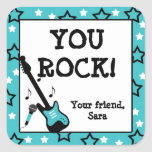 Rock Star Birthday Party Favor Stickers Turquoise