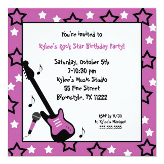 Rock Star Birthday Party Invite Purple Square