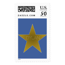 Rock Star Birthday Party Postage Stamp Blue Gold