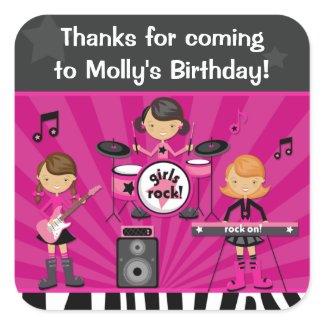 Rock Star Birthday Party Sticker