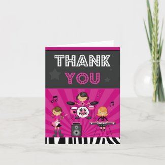 Rock Star Birthday Party Thank You Card