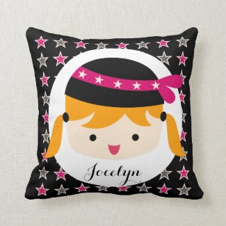 Rock Star Blond Girl Personalized Pillow