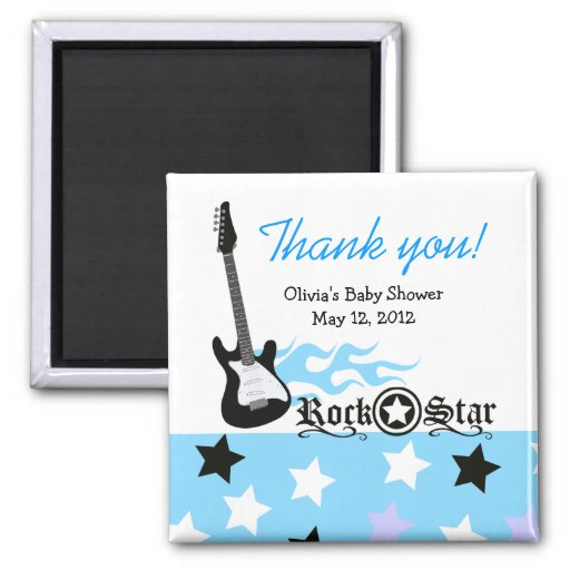 ROCK STAR Blue Baby Shower Favor Magnet