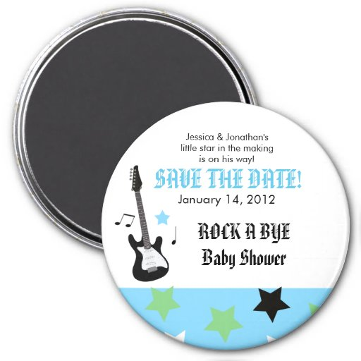 ROCK STAR Blue Baby Shower Favor Magnet