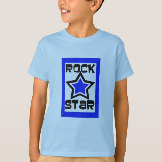 Rock star, blue, black and white design T-Shirt