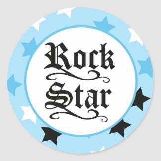 Rock Star (Blue) Envelope Seals / Toppers 20 Classic Round Sticker
