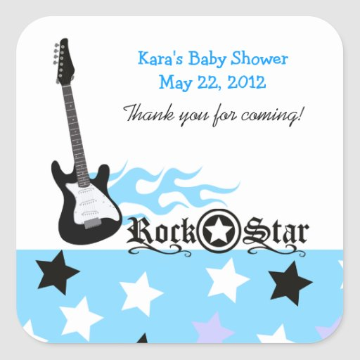 Rock Star Blue SQUARE Favor Sticker