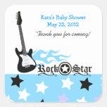 Rock Star Blue SQUARE Favor Sticker