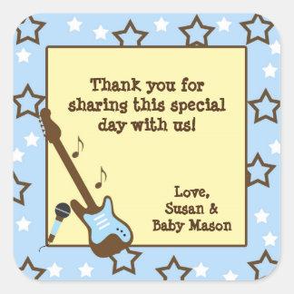 Rock Star boy baby shower favor rock band blue Square Sticker