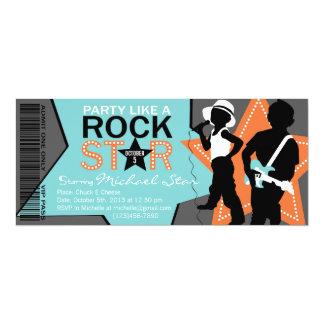 Rock Star Boy Band Birthday Aqua Orange Card