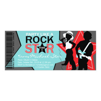 Rock Star Boy Band Birthday Aqua Red 4x9.25 Paper Invitation Card