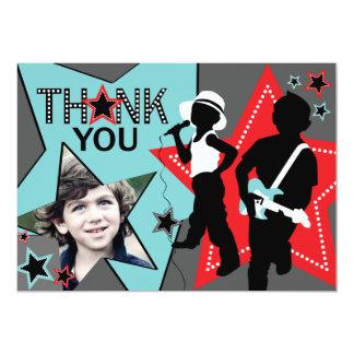 """Rock Star Boy Band Thank You Aqua Red 5"""" X 7"""" Invitation Card"""