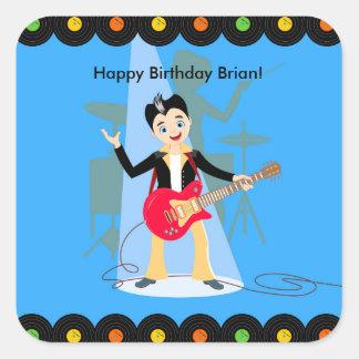 Rock star boy birthday party square sticker