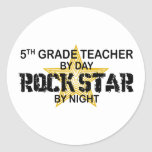 Rock Star by Night - 5th Grade Round Stickers