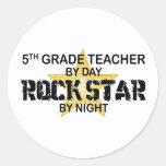 Rock Star by Night - 5th Grade Classic Round Sticker
