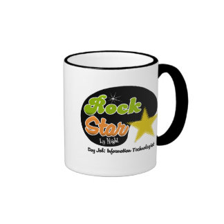 Rock Star By Night - Day Information Technologist Ringer Coffee Mug