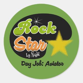 Rock Star By Night - Day Job Aviator Round Stickers