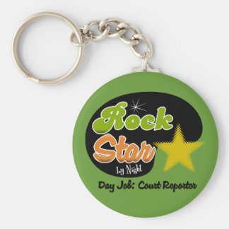 Rock Star By Night - Day Job Court Reporter Basic Round Button Keychain