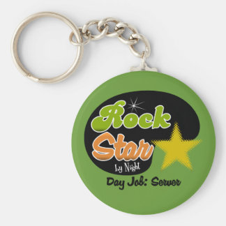 Rock Star By Night - Day Job Server Basic Round Button Keychain