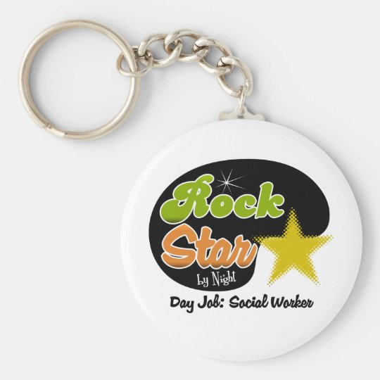 Rock Star By Night - Day Job Social Worker Keychain