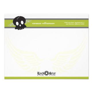 Rock Star Custom Flat Note Cards (lime) Custom Announcement